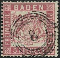 BADEN 16 o, 1862, 3 Kr. rosakarmin, Nummernstempel 8, kleine Kratzspur sonst Pracht, Mi. 380.-