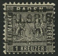 BADEN 13a o, 1862, 1 Kr. schwarz, kaum sichtbare Bugspur sonst Pracht, Mi. 120.-
