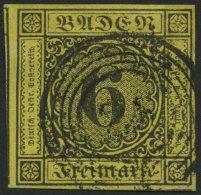 BADEN 7 o, 1853, 6 Kr. schwarz auf gelb, allseits breitrandig, Pracht