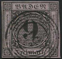 BADEN 4a o, 1851, 9 Kr. schwarz auf altrosa, Nummernstempel 57, allseits breitrandig, Pracht