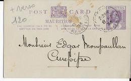 MAURITIUS - 1934 - CARTE ENTIER POSTAL LOCALE Avec REPIQUAGE AU DOS (REUNION DE MUSICIENS) De CUREPIPE - Maurice (...-1967)