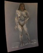 [EROTISME NU FEMININ] Grand Dessin Figurant Une Femme Dénudée. - Dessins