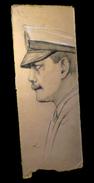 Dessin Original Figurant Un Portrait De Profil D'un Capitaine De La Marine. - Dessins