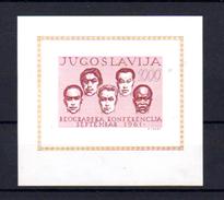1961   Conférence Des Etats Non Engagés à Belgrade, Yougoslavie,  BF 7**, Cote 30 €, - Blocs-feuillets