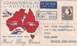 Australia: 2s FDC, Unley, South Australia, To Accra, Gold Coast, 16-25 Feb 1948 - FDC