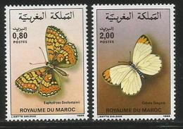 1985 Morocco Butterflies Papillions Complete Set Of 2 MNH - Butterflies