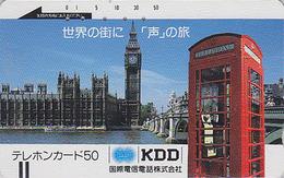 Télécarte Ancienne Japon / 110-17114 - LONDON BIG BEN & TELEPHONE KDD - ENGLAND Related Japan Front Bar Phonecard / A