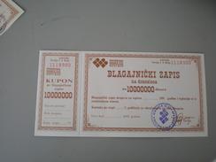 Blagajnicki Zapis Privredna Banka Novi Sad 10000000 Dinara - Yougoslavie