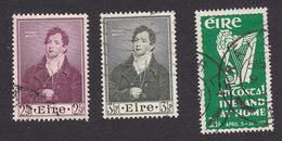 Ireland, Scott #145-147, Used, Thomas Moore, Irish Harp, Issued 1952-53 - 1949-... Republic Of Ireland