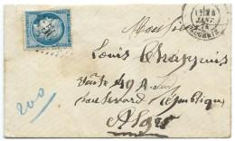 N° 60 BLEU CERES SUR LETTRE /  ALGERIE POUR ALGER 1874 - Marcophilie (Lettres)