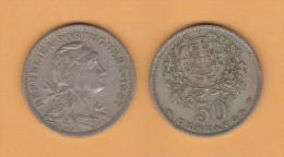 PORTUGAL  50  CENTAVOS 1.957  Cu Ni  KM#577   MBC/VF   T-DL-10.680 - Portugal