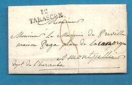 Bouches Du Rhone - Tarascon Pour Le Marquis De Préville à Montpellier (Hérault). LAC De 1823 - Marcophilie (Lettres)