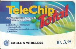 PANAMA - TeleChip Total, C & W Prepaid Card B/.3.00, Used