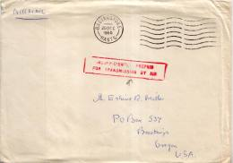 Unfranked 1960 Basingstoke, Hants. Airmail To Brookings, Oreg. With Red Boxed Sl Insufficiently Prepaid For Transm... - Cartas