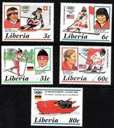 Liberia Scott 1049-53 1988 Winter Olympics  MNH VF  (3 ) CV 5.25 - Liberia
