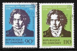 Benin(Dahomey) Scott # C129-30 Used Beethoven, 1970 - Bénin – Dahomey (1960-...)