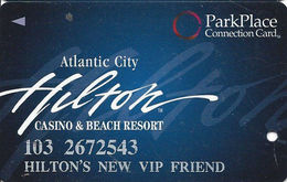Atlantic City Hilton Casino - Slot Card - Park Place Connection Card - Hilton's New VIP Friend - Casinokaarten
