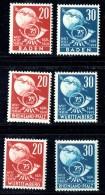 1949 75 Jahre Weltpostverein  Baden 56-7, Rheinland-Pfalz 51-2, Würtemberg  51-2  ** - Zone Française