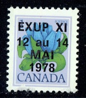 1978  Semi-official EXUP XI Overprint On 1¢ Bottle Gentian Sc 705 ** Unitrade 705iii - 1952-.... Elizabeth II