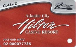 Atlantic City Hilton Casino - Slot Card - CLASSIC Destination Club - 5 Lines Main Paragraph On Back - Casino Cards