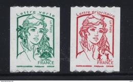 N° 1256 & 1257 Marianne Ciappa Adhésif Roulettes Année 2016, Valeur Faciale Lettre Prioritaire Et Lettre Verte - France