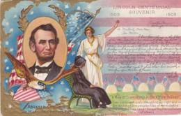 Abraham Lincoln US President Centennial Of Birth Souvenir, C1900s Vintage Postcard - Figuren