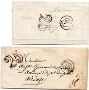235  2 Lettres Avec Taxe Tampon Doubles Traits 25 Centimes Paris 1851 Lyon 1852 - 1849-1876: Classic Period