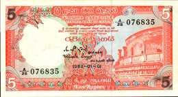SRI LANKA  5 ROUPIES Du 1-1-1982  Pick 91  UNC/NEUF - Sri Lanka
