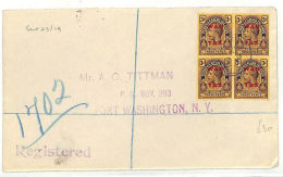 AB351 1919 Turks & Caicos WAR TAX BLOCK{4} Registered Cover USA{samwells-covers} - Turcas Y Caicos