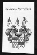 """Grafen Von Pappenheim"" - Pappenheim Wappen Adel Coat Of Arms Kupferstich Antique Print Heraldry Heraldik"