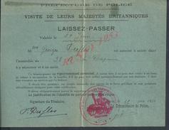 TRES RARE LAISSEZ PASSEZ PREFECTURE DE POLICE AVEC CACHET DE PARIS SA MAJESTÉS BRITANNIQUES POUR Mr GEORGES DUFLOS 1938 - Polizia