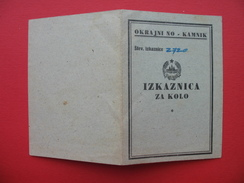 Domzale/Dob.OKRAJNI NO-Kamnik.IZKAZNICA ZA KOLO (bicycle-card)