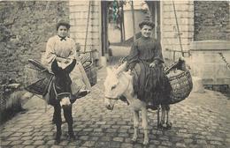 BASQUAISE ALLANT AU MARCHE Avec Des ânes . - Anes