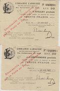 2 Mandats De 30 Frcs Librairie Larousse 1932 Avec Timbre Fiscal Payable à La Poste 14.3x11 Cms Be - Fiscaux