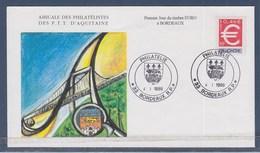 = Le Timbre Euro à Bordeaux Enveloppe 1er Jour 04.01.99 N°3214 Le Symbole De L'Euro, Type Gommé - FDC
