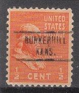 USA Precancel Vorausentwertung Preos Locals Kansas, Bunkerhill 734, Stamp Thin