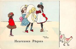 """¤¤  -  Heureuses Pâques   -  Illustrateur """" Louis GOYET """"   -    Petites Filles  -  Oeuf   -  ¤¤ - Pâques"""