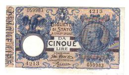 5 Lire Vittorio Emanuele III 29 07 1918 Dell'ara Porena Sup LOTTO 1383 - [ 1] …-1946 : Kingdom