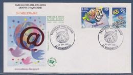 = 3ème Millénaire Enveloppe Bordeaux 2-3.1.01 N°3365 Avec Vignette @, Meilleurs Vœux - Marcophilie (Lettres)