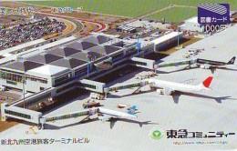 Télécarte  JAPON *   (2176) Phonecard JAPAN * AIRPORT  * Airplane * Flugzeug Avion * AVION * AIRLINES * - Airplanes