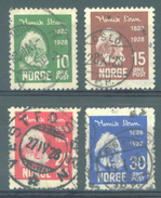 NORWAY  - 1928 - USED/OBLIT. - HENRIK IBSEN  -  Yv 128-131 Mi 137-140 - Lot 15352