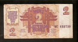 Pa. Latvia Lettland 2 Latvijas Rubli Latvian Ruble Rouble 1992 Ser. KC 633739 Banknote Repshe - Latvia