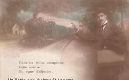 BELGIQUE. WOLUWE ST LAMBERT. CPA  RARE. UN BONJOUR DE WOLUWE ST LAMBERT. ANNÉE 1919 - Belgique