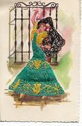 Carte  Brodée  -  Danseur  Espagnol - Robe  Vert  Et  Jaune - Cartes Postales