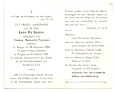 Devotie - Devotion - Leon De Souter - Brugge 1896 - 1965 - Marguerite Trypsteen - Avvisi Di Necrologio