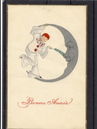 Pierrot Caresse Croissant De Lune Avec Plume - TBE - Tarjetas De Fantasía