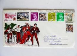 Cover From Spain 1982 Flamingo Carmen Dance Musical Instrument Guitar 8 Post Stamps - 1931-Hoy: 2ª República - ... Juan Carlos I