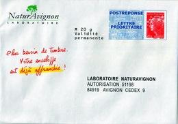 PAP, POSTRÉPONSE LABORATOIRE NATURAVIGNON LETTRE PRIORITAIRE BEAUJARD 13P073 - Postal Stamped Stationery