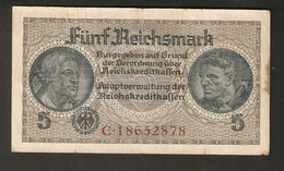 Pa. Germany WWII Third Reich REICHSKREDITKASSEN 5 REICHSMARK 1940 - 1945 8 Digit Serial # C 18652878 - [ 4] 1933-1945: Derde Rijk