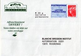 PAP, POSTRÉPONSE BLANCHE BRESSON INSTITUT LETTRE PRIORITAIRE BEAUJARD 13P013 - Listos Para Enviar: Respuesta /Beaujard